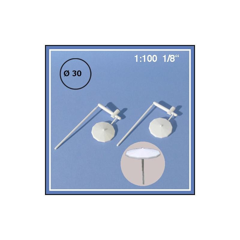 4 Parasols blancs 1:100 30 mm