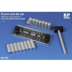 Punch and die set de 0,5 à 2,0 mm pas de 0,1 mm