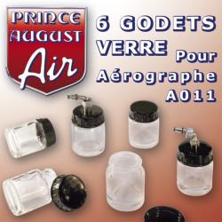 6 Godets en verre pour aérographe A011