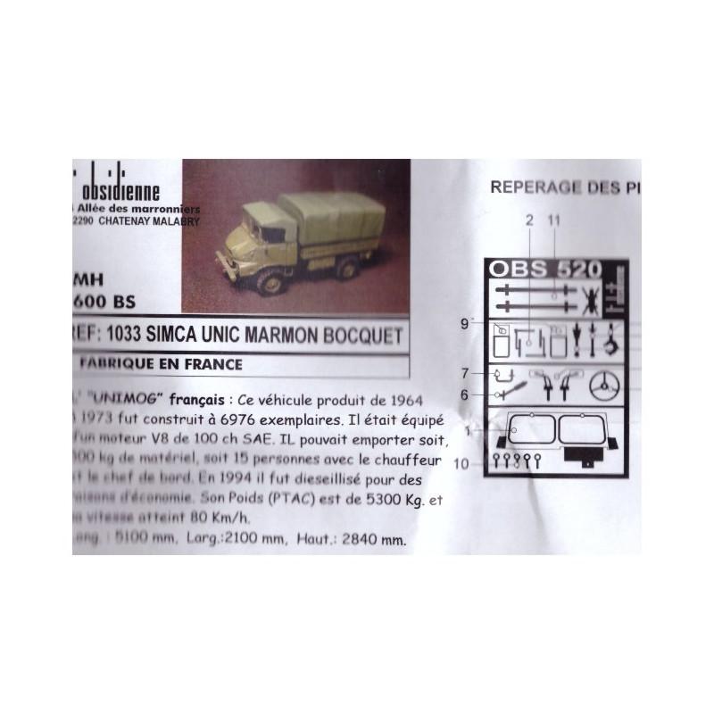 Kit résine HO et détaillage camion SIMCA UNIC MARMON BOCQUET