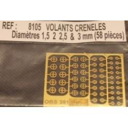 58 volants creneles modèles diamètres (1,5, 2, 2,5 et 3 mm)