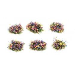 4mm Touffes d'herbes auto-adhésives fleuries (100)