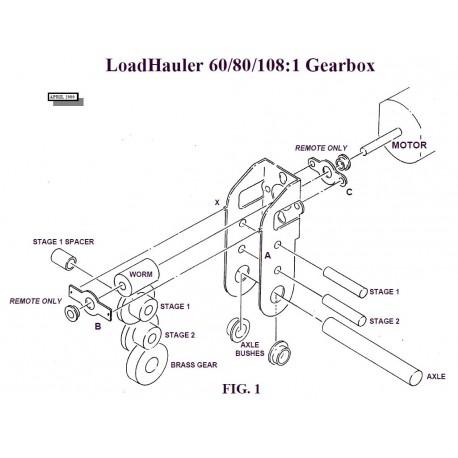 """Réducteur à 2 étages - Réduction 60:1 Axe moteur 1,5 mm - Axe de sortie 1/8"""""""