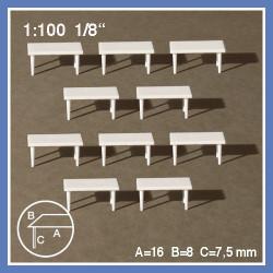 10 tables rectangulaires à 4 pieds - échelle 1:100