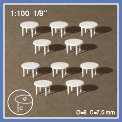 10 tables rondes à 4 pieds - échelle 1:100