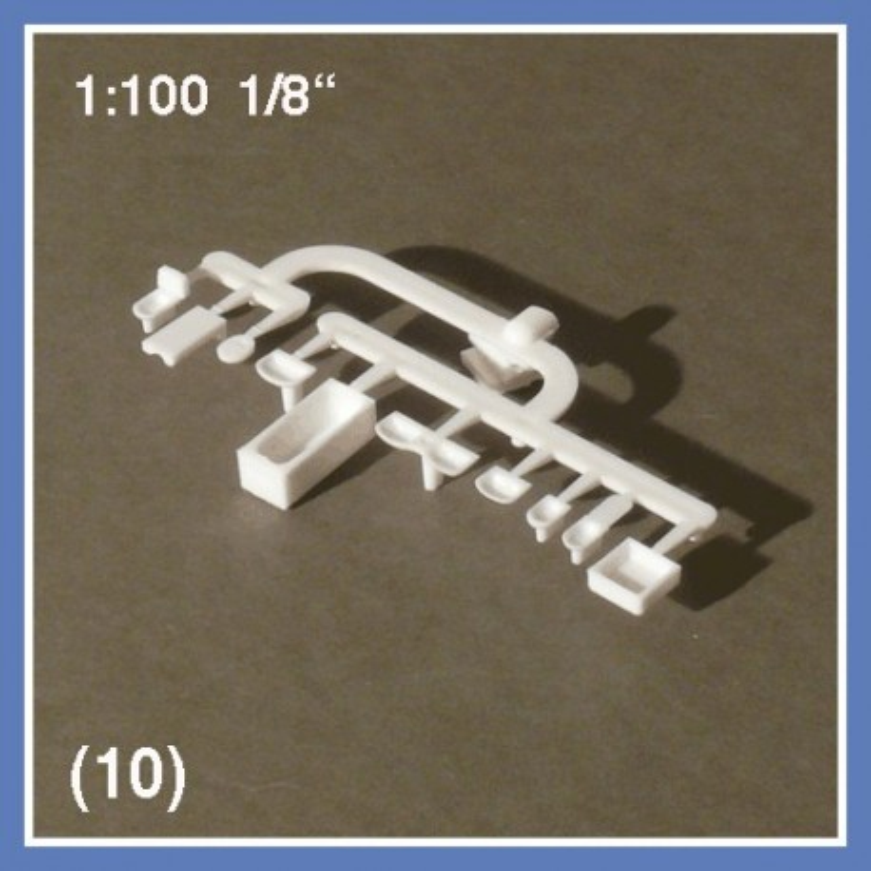 Mobilier de salle de bain 10 pièces - échelle 1:100