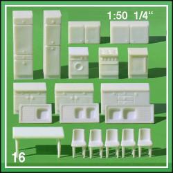 Mobilier cuisine - 16 pièces - échelle 1:50