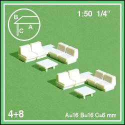 8 fauteuils et 4 tables basses échelle 1:50