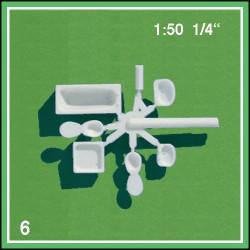 Equipement de salle de bain échelle 1:50 6 pièces