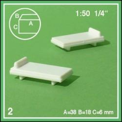 Lits simples échelle 1:50 38x18x6mm