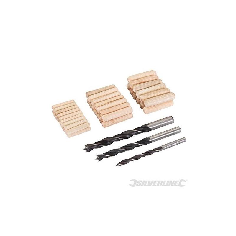 Lot 47 pièces de chevilles et mèches à bois