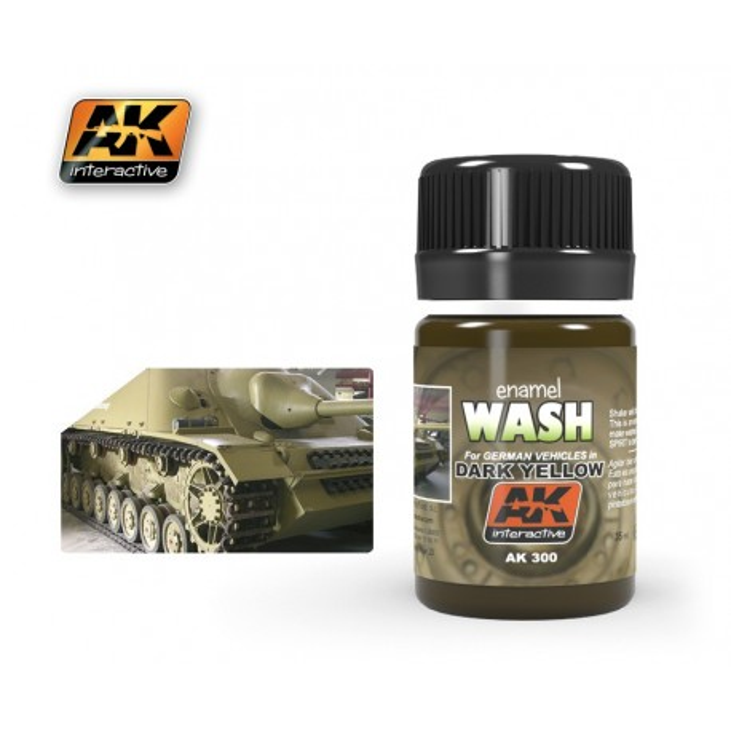 AK300 enamel WASH For GERMAN VEHICLES in Dark Yellow