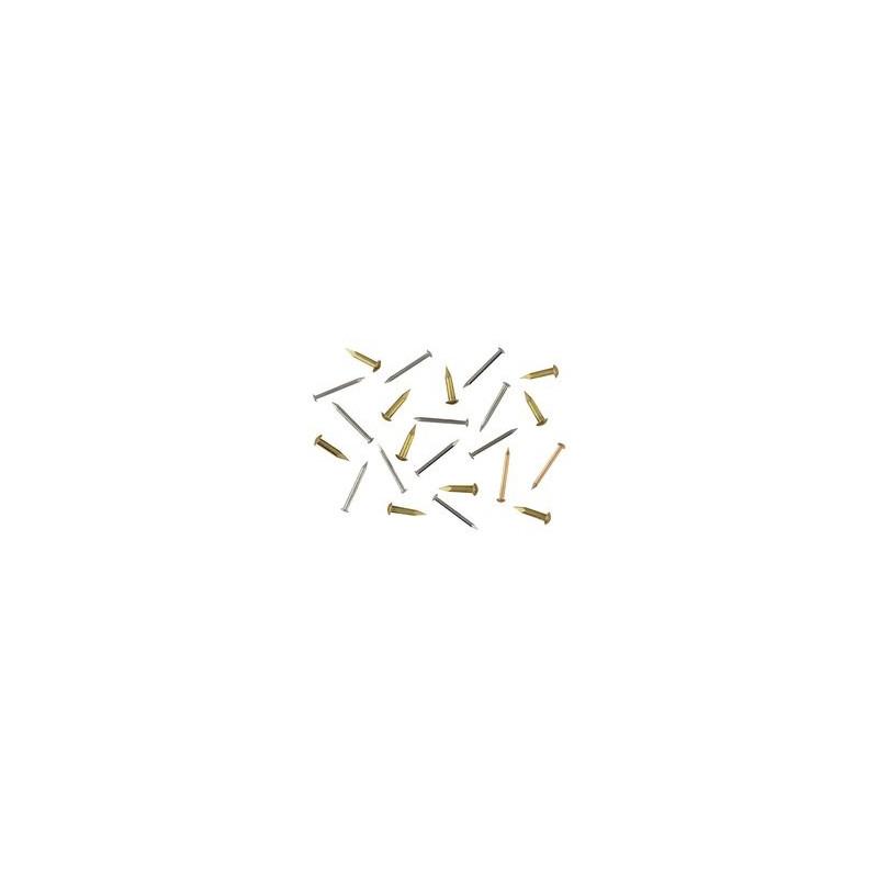 Clou laiton D 1,3mm, tête de 2,3mm L 6mm, environ 100 pièces