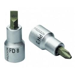 """Douille tournevis à fente 1/2"""" (12,5mm) Longueur 55mm en acier CrV"""
