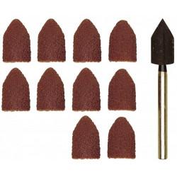 Papier émeri forme capuchon Ø9 - grain 80/150 - 5 pcs de chaque + 1 tige