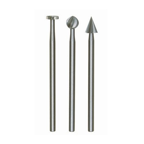 Fraise embout en acier wolfram-vanadium axe 2,35 mm 3 formes