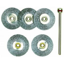Brosses en acier - disques Ø22 mm - 5 pcs