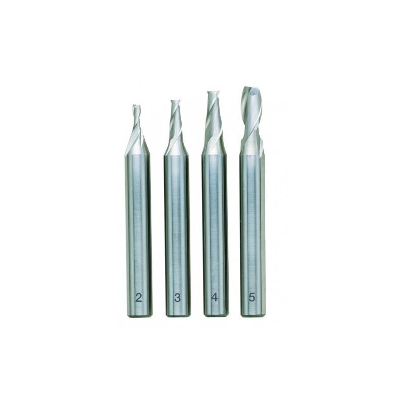 Fraises droites acier HSS 2 - 3 - 4 - 5 mm - Coffret bois
