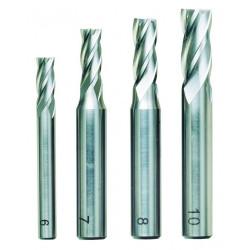 Fraises droites acier HSS 6 - 7 - 8 - 10 mm - Coffret bois