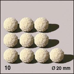10 Boules d'éponge blanches 20 mm