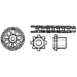 """Kit transmission à chaîne (1 chaine L 155 mm - 2 pignons 1/8"""" à 8 dents)"""