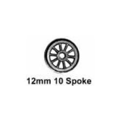 Roues à 10 rayons - Essieu wagon avec pointes - Diamètre 12 mm