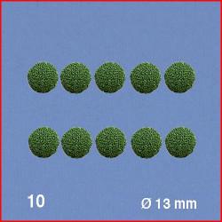 10 Boules pour têtes d'arbres, vert, 13 mm