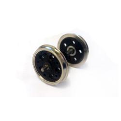 Axe - pignon central et 2 roues à trous montées - Roues à trous - Diamètre : 14mm