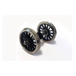 Axe - pignon central et 2 roues à rayons montées - Roues à rayons - Diamètre : 14mm