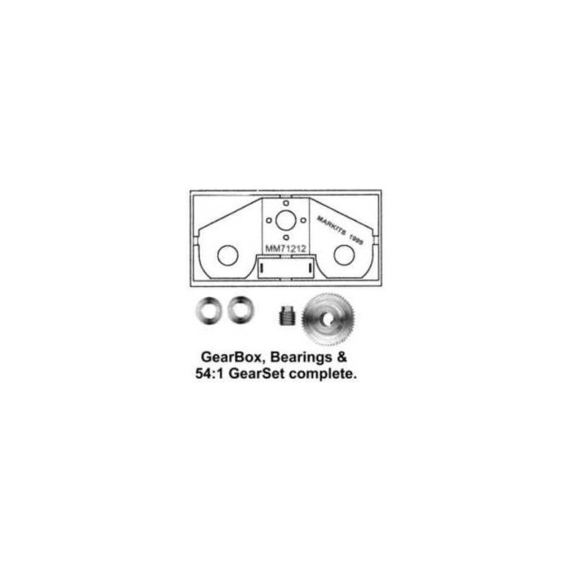 """Ensemble Romford - Réduction 54:1 Axe moteur 2,0mm - Axe de sortie 3/16"""" et FLASQUE MOTEUR"""