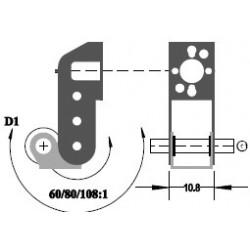 """Réducteur à 2 étages - Réduction 60:1 - Axe moteur 2,0 mm - Axe de sortie 1/8"""""""