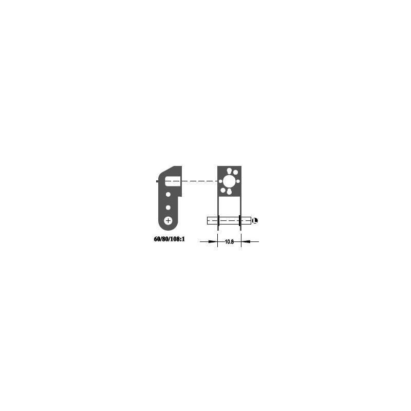 """Réducteur à 2 étages - Réduction 108:1 - Axe moteur 2,0 mm - Axe de sortie 1/8"""""""