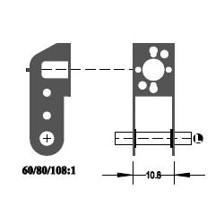 """Réducteur à 2 étages - Réduction 80:1 - Axe moteur 2,0 mm - Axe de sortie 1/8"""""""