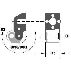 """Réducteur à 2 étages - Réduction 108:1 - Axe moteur 1,5 mm - Axe de sortie 1/8"""""""