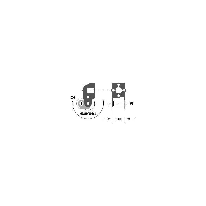 """Réducteur à 2 étages - Réduction 90:1 - Axe moteur 1,5 mm - Axe de sortie 1/8"""""""