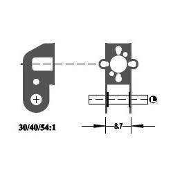 """Réducteur à 2 étages - Réduction 54:1 - Axe moteur 1,5 mm - Axe de sortie 1/8"""""""