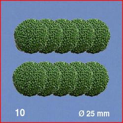 10 Boules pour têtes d'arbres, vert, 25 mm