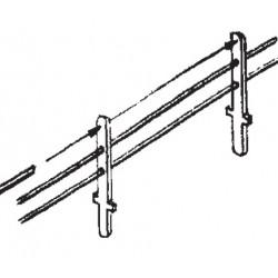 Poteaux pour barrières et balustrades - 80 Poteaux, 3 Lisses