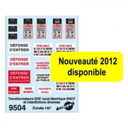 Décalcomanies danger d'électrocution et interdictions diverses