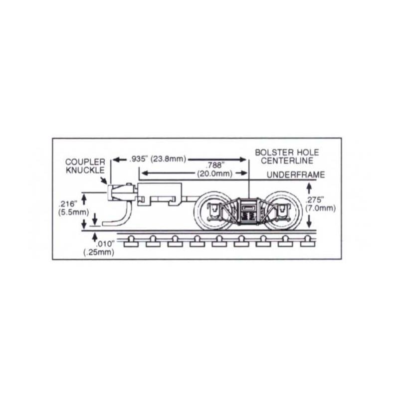 Paire de bogies Microtrains archbar avec coupleur USA long