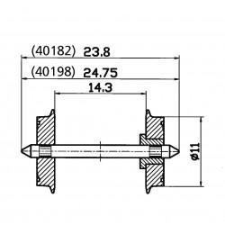 Essieu normalisé Ø 11 mm - Simple Isolation - Entrepointe 24,75 mm
