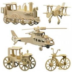 5 puzzles à monter : loco, hélico, vélo voiture et avion