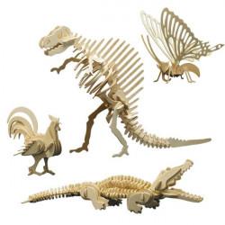 4 puzzles à monter : papillon, coq, tyrannosaure et crocodile