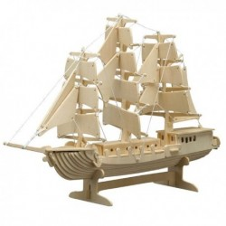 Puzzle en bois : voilier à 3 mats