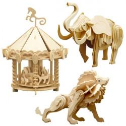 Au cirque - 3 Puzzles à monter : lion, manège et éléphant
