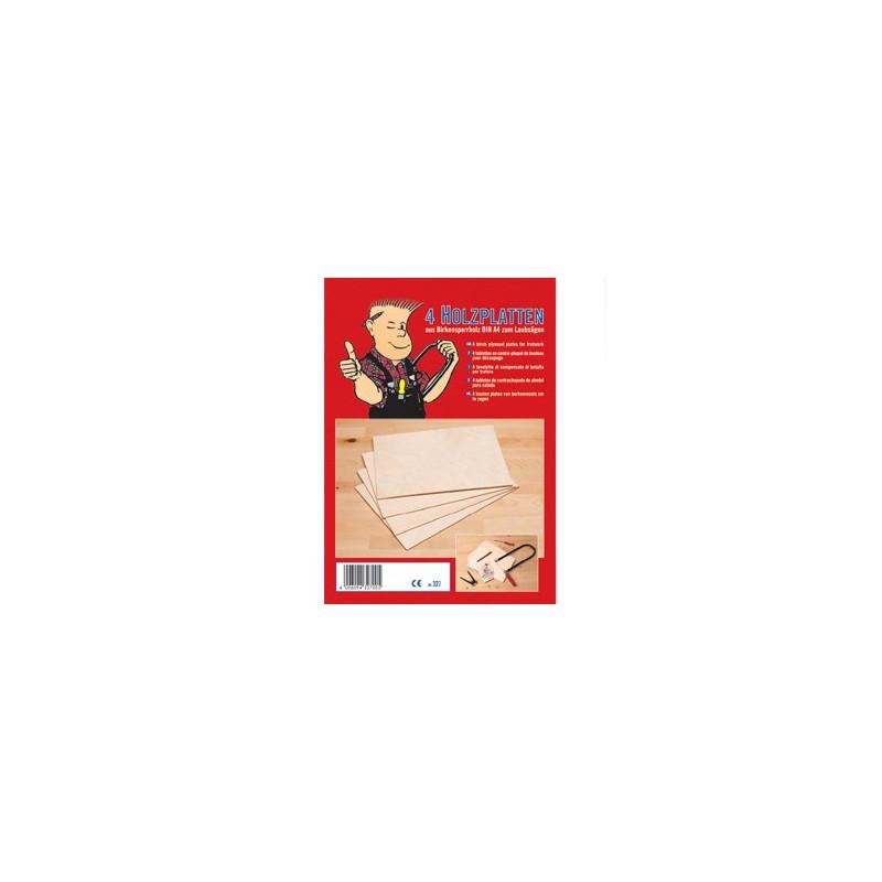 4 plaques de contreplaqué (bouleau) pour pyrogravure