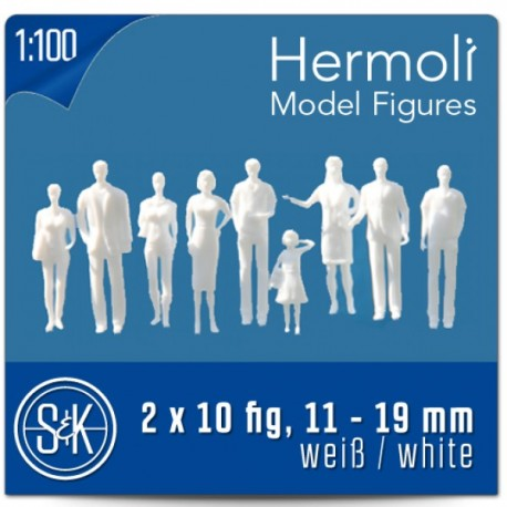 Personnages 3D 1:100. 20 figurines blanches, debout