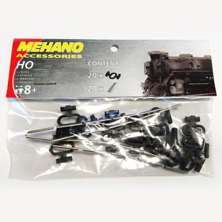 Sachet de 20x éclisses et 20x attaches pour rails Mehano