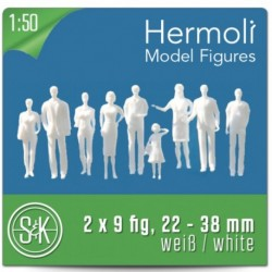 Personnages 3D 1:50. 18 figurines blanches, debout