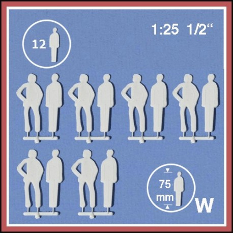 Personnages en silhouette 1:25. 12 figurines blanches, debout